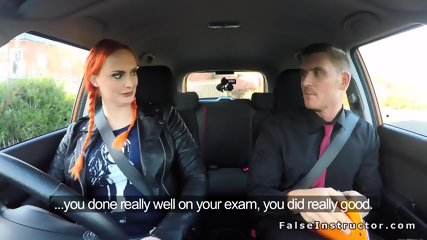 Pigtailed huge tits redhead sucks examiners