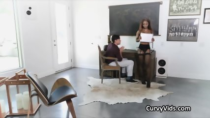 Lubed black beauty bounces on white cock