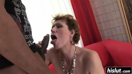 Mature in stockings love a black pecker