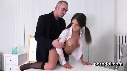 Sensual schoolgirl gets teased and banged by her aged tutor