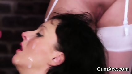 Flirty centerfold gets cumshot on her face swallowing all the charge - scene 6