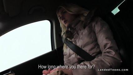 Blonde hitchhiker hottie bangs stranger