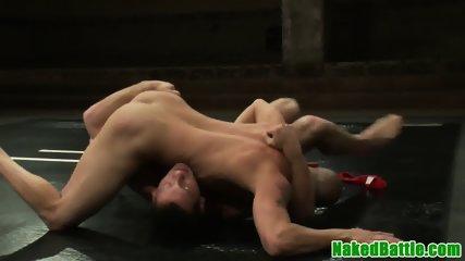 Ripped stud dominates wrestle before fucking