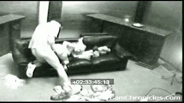 Naked on security cam