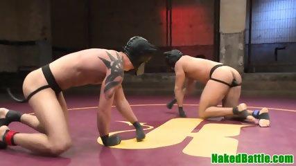Tattooed hunks wrestling before analsex