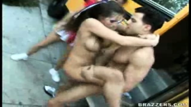 Cheerleader Team Banged in Public!