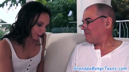 Pussylicked amateur beauty fucked by grandpa