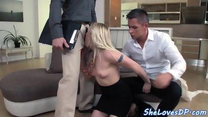 European babe gets spitroasted until cumshot
