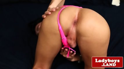 Cock wanking ladyboy plays with herself