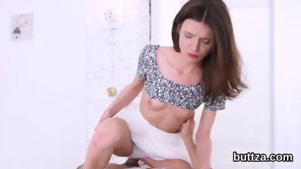 Adorable slim nympho gets her tight snatch and small anal screwed
