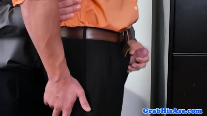 Office stud dicksucking and gets fucked