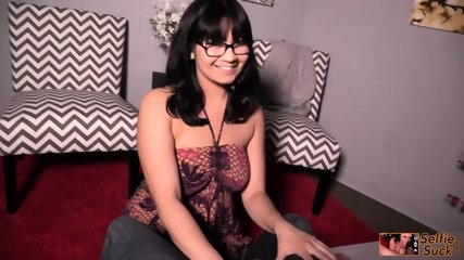 Cute Babe With Glasses Gives Head - scene 1