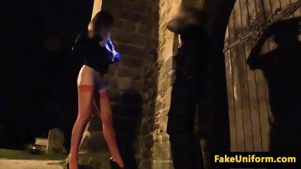Alluring euro beauty sucks cops hard cock