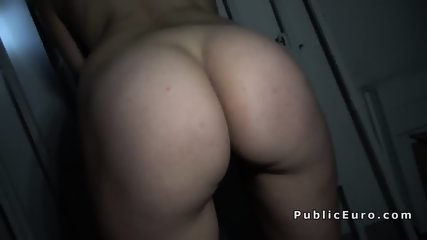 Busty blonde has sex for the money in public