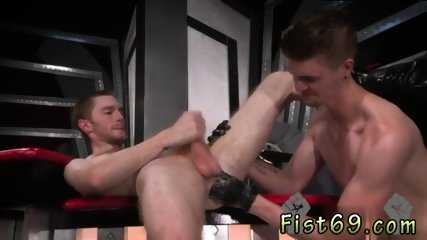 Naked men Seamus O Reilly waits - bootie up as Matt Wylde dick-slaps his tasty hole.