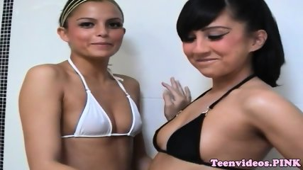 Teen lesbians wash each other in the shower