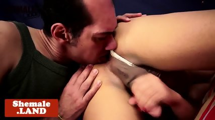 Curvy ladyboy rimmed before doggystyle fuck