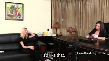 Petite blonde rubbing busty female agent