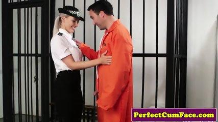 Busty british police babe sucking prisoner