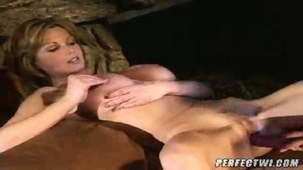 Busty lesbian MILFs play with dildo - scene 8