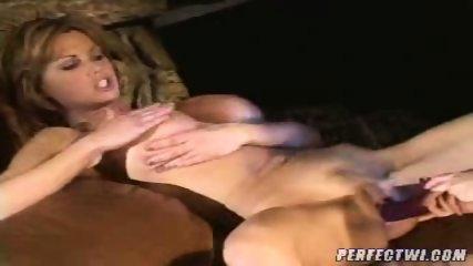 Busty lesbian MILFs play with dildo - scene 9