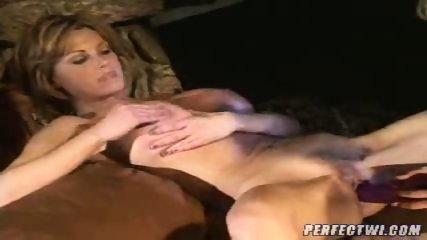 Busty lesbian MILFs play with dildo - scene 11