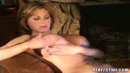 Busty lesbian MILFs play with dildo - scene 5