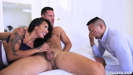 She Is Riding Cock While Husband Is Watching