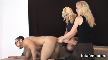 Teenies nail guys butthole with big strap-ons and squirt jizm