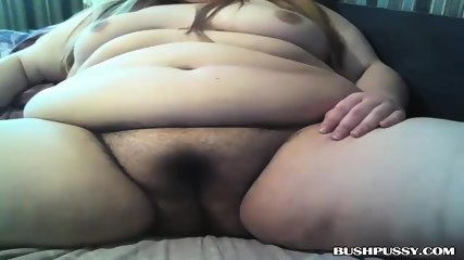 BBW has smoke after close up of hairy pussy