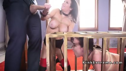 Slaves anal fucking and squirting threesome