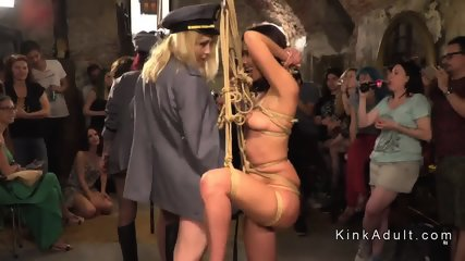 Public orgy fuck of two slaves