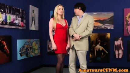 CFNM fetish babe dominates guy in public