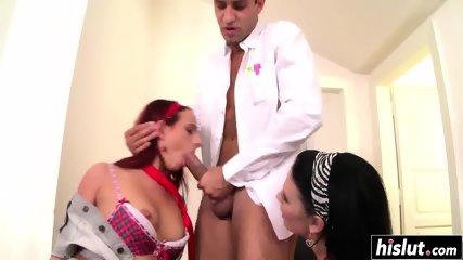 Two hot schoolgirls get a big boner
