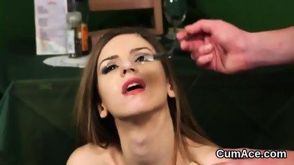 Frisky sex kitten gets cum shot on her face swallowing all the spunk - scene 5