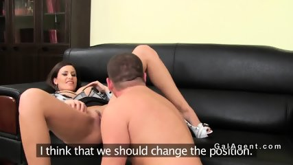Female agent with huge tits fucking