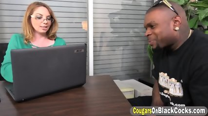 Busty secretary handling a BBC duo with intense anal