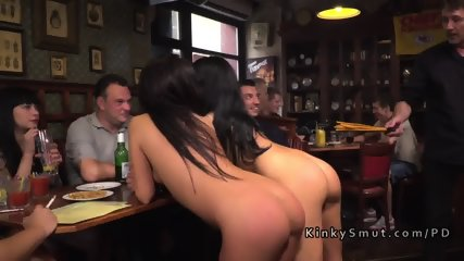 Tanned Hungarian slaves fucked in public