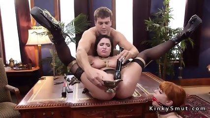 Master anal fucks slaves in threesome bondage