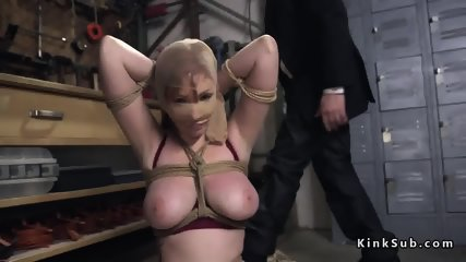 Tied up huge tits redhead anal toyed