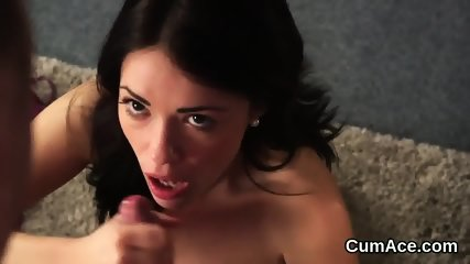 Unusual centerfold gets cumshot on her face swallowing all the semen