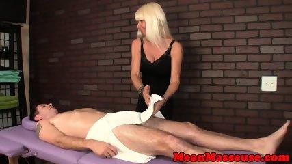 Cum controlling masseuse strokes hard cock
