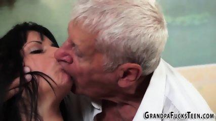 Teen sucks floppy grandpa