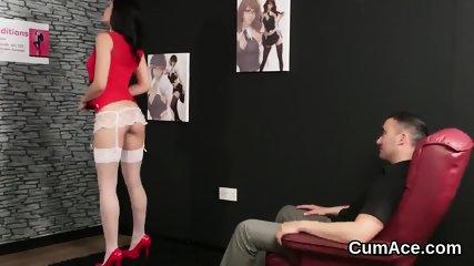 Kinky sex kitten gets jizz load on her face swallowing all the spunk