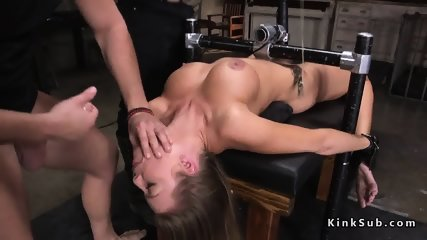 Tied up busty blonde anal fucked