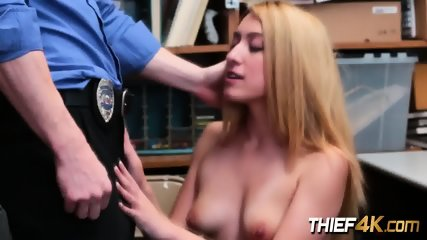 Horny officer spending quality time at work