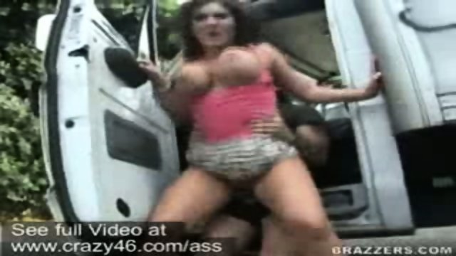 Claire Dames getting nailed hard in a commerce truck outside