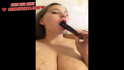 A virgin with big tits, masturbates and fucks in a chat