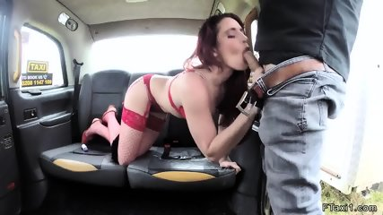 Redhead in red lingerie anal in fake taxi