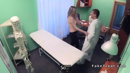 Shaved pussy blonde rides doctor